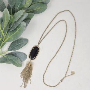 KENDRA SCOTT Rayne Black   Gold Tassel Necklace